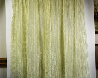 Vintage Curtains 1970s Sheer Casement Panels Green and White Open Weave Vintage Drapery Panels with Pinch Pleat Header Unlined