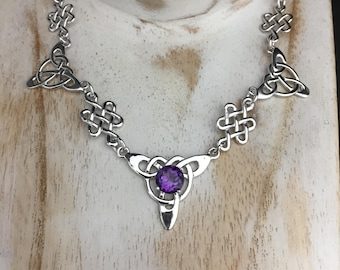 Irish Celtic Silver Necklaces, Boho Victorian Necklaces with Gemstone, Irish Jewelry, Celtic Necklaces,  Sterling Silver Box Chain, Handmade