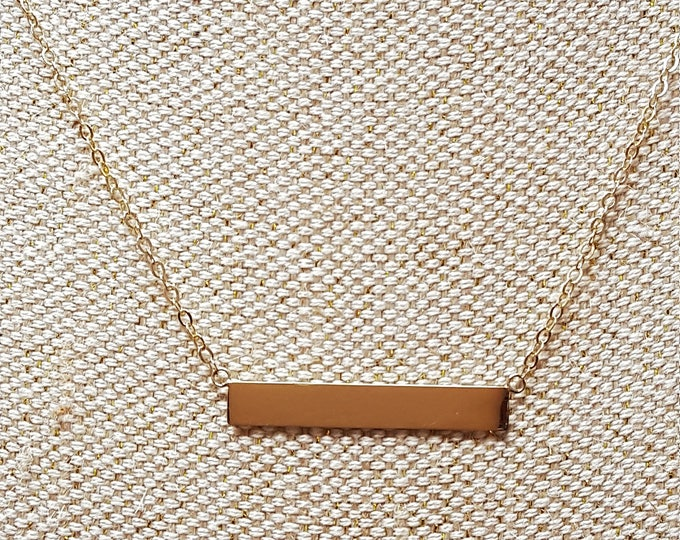 14K Yellow Gold Bar Station Necklace QVC Minimalist Chain