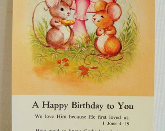Kitsch birthday greetings card religious themed postcard mice and toadstool picture