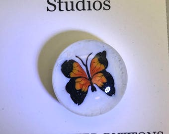 Monarch Butterfly, Lampwork Glass Paperweight Studio Button 20mm