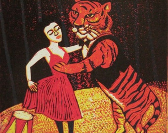 "Signed 32x32cm Giclee Limited Edition Print With Animals ""Dancing Tiger"" from an original reduction lino print. By Laura Robertson"