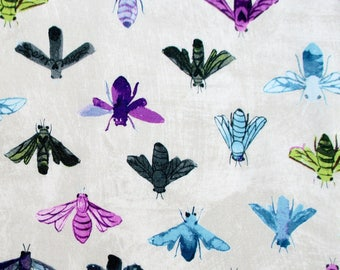 Fabric, Save the Bees on Linen Beige, Dreamer, Windham Fabrics, Insect, Honey Bee, Last One Yard