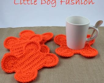 Dog Bone Coasters, Crochet Table Decor, Handmade Coasters, Crochet Coasters, Gift for Dog Lover, Dog Bone, Orange