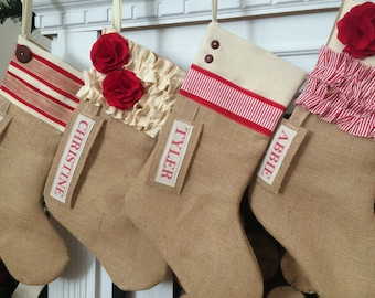 Burlap Christmas Stocking Red and White personalized Rustic Christmas stocking custom christmas stocking