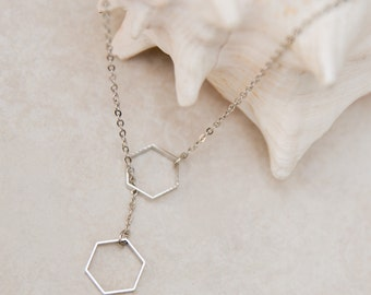 Silver Hexagon Necklace, geometric necklace, minimalist necklace, silver lariat necklace, honeycomb jewelry, simple jewelry, edgy necklace