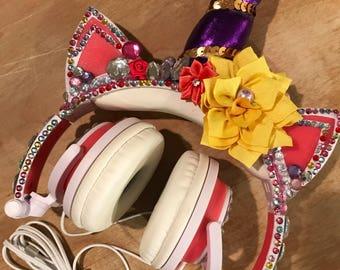 unicorn headphones ! Kids headphones ! Childrens ear phones  unicorn ears  unicorn horn light unp unicorn horn