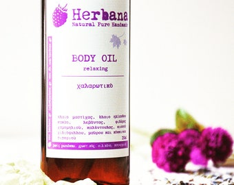 Massage Oil, Relaxing Massage, Moisturizer, Aromatherapy Oil, Essential oils, Natural Body Care, Organic Skin Care by Herbana Cosmetics