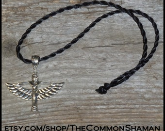 Egyptian Goddess Necklace - amulet talisman silver unisex jewelry ancient Egypt Isis god feminine divine winged goddess love strength wisdom