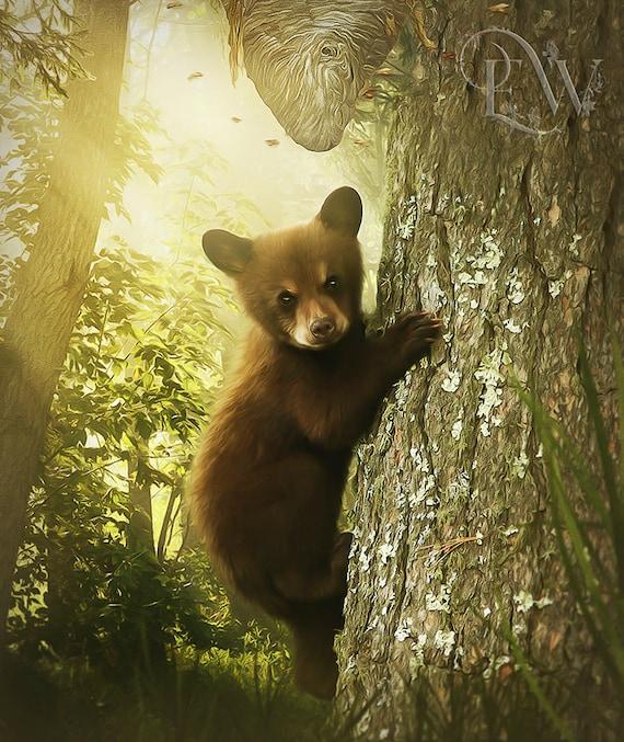 cute baby bear climbing tree art print