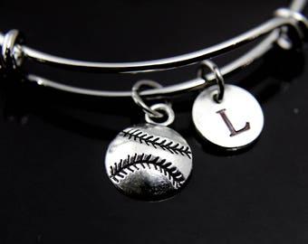 Softball Bracelet Softball Bangle Silver Softball Charm Bangle Softball Mom Gift Baseball Bangle Baseball Bracelet Personalized Bracelet