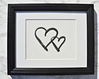 Two Hearts Black and White Watercolour Gallery Wall Art