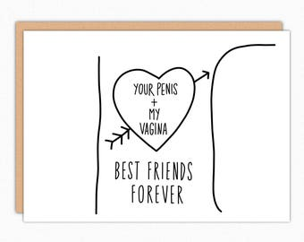 Anniversary Card For Husband For Boyfriend. Funny Birthday Card For Him. Valentines Day Gift For Him. Penis Vagina Best Friends Forever 179