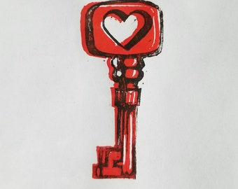 Key to My Heart, block print, Angel Hawari, love, token of affection
