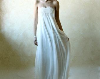 Wedding Dress, Ethereal Wedding Dress, Empire wedding dress, column wedding dress, boho wedding dress, lace wedding dress, chiffon dress