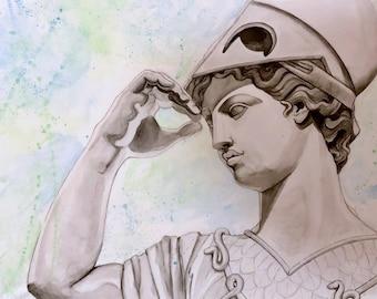 Athena watercolor canvas painting - Greek Mythology Art