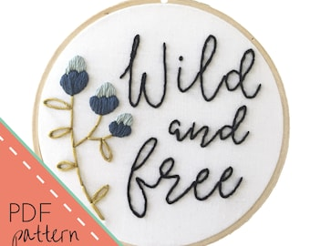 Home sweet home embroidery pattern instant download pdf wild and free embroidery pattern instant download pdf printable pattern floral stitches pdf pattern diy hand embroidery stitch guide dt1010fo