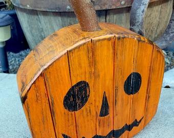 Rustic Wood 2x4 Fall / Thanksgiving Pumpkin Decoration Reversible Jack o' Lantern for Halloween
