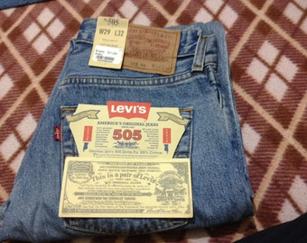 Brand New Vintage Levi's 505 Blue Denim Stonewashed Jeans W29 L32 Made In Spain 90's