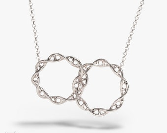 Interlocked DNA necklace - 3D printed genetics pendant - science jewelry