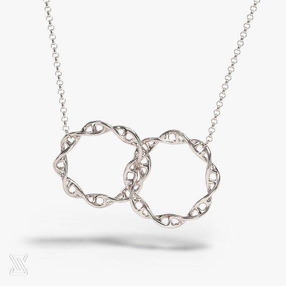 molecule dp toned and dna helix co pendant necklace uk genetics charm jewellery rose silver gold noumanda double amazon