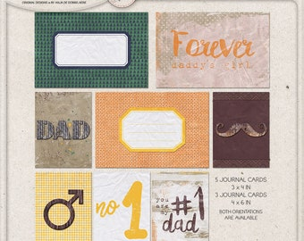 Printable Journal Cards, Father's Day, Digital Download, Printable Collage Sheet, Pocket Cards, Project Life, Journaling, Cards, For Daddy