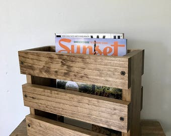 Bathroom Magazine rack, Magazine holder, Wall hanging magazine holder, Restaurant menu holder, Wood magazine holder, Wood Storage Wall Mount