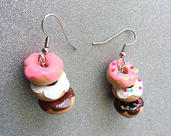 Donut Earrings Stack of Donuts Polymer Clay Earrings