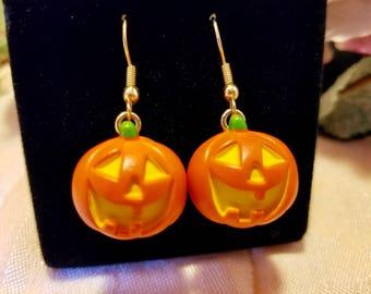 Halloween Jack O'Lantern Pumpkin Pierced Dangle Earrings | Vintage 1990 Hallmark