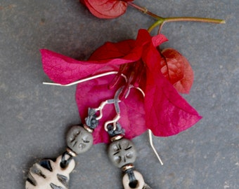 Rustic Heart drop earrings, Mothers Day gift