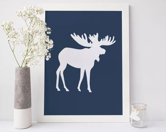 Woodlands Decor, Nursery Printable, Navy Blue Decor, Navy Printable, Moose Artwork, Animal Wall Art, Boys Room Decor, Moose Art Print