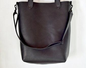 Tote bag laptop bag BLACK leather- Genny