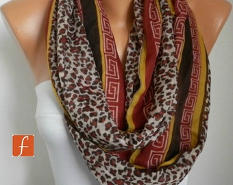 Mother's Day Gift, Leopard Print Infinity Scarf,Bohemian, Animal Scarf Circle,Loop Scarf Gift For Her Women Fashion Accessories Mother Gift