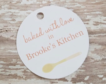 Baked with Love in My Kitchen, From My Kitchen to Yours, Baked Goods Tag, Christmas Tags, Food Label, Jar Tag, Holiday Food Tag, Spoon (095)
