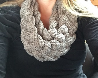 Braided cowl infinity scarf with button
