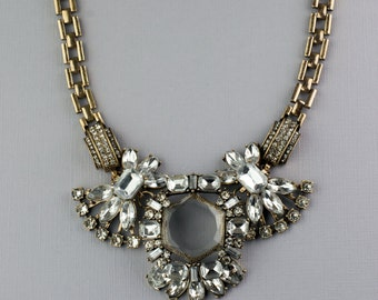 Crystal Statement Necklace, Crystal and Rhinestone Statement Necklace,