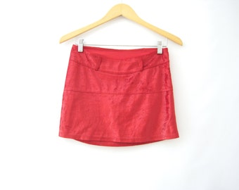 90s Red Micro Mini Skirt ROMANS Velvet Club Kid Goth Cyberwave Rave Euro-Trash Gogo Vapowave // S-M