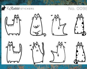 Sassy cats - 0098 planner stickers, cat stickers, funny stickers, humor stickers, writer stickers, bullet journal