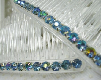 4 mm Aurora Borealis Light Denim Blue Color Changing Rhinestones Side Hair Comb Pair, prom hair combs, wedding hair combs, side comb pair