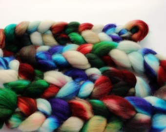 4 oz Superwash Blue Faced Leicester Combed Top, Roving, BFL spinning fiber, Wool Roving, Wool Top, Handdyed Top