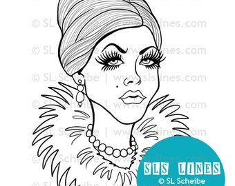 Digital stamp snobby lady gladiator mascara rich lady digistamp, instant download stamp
