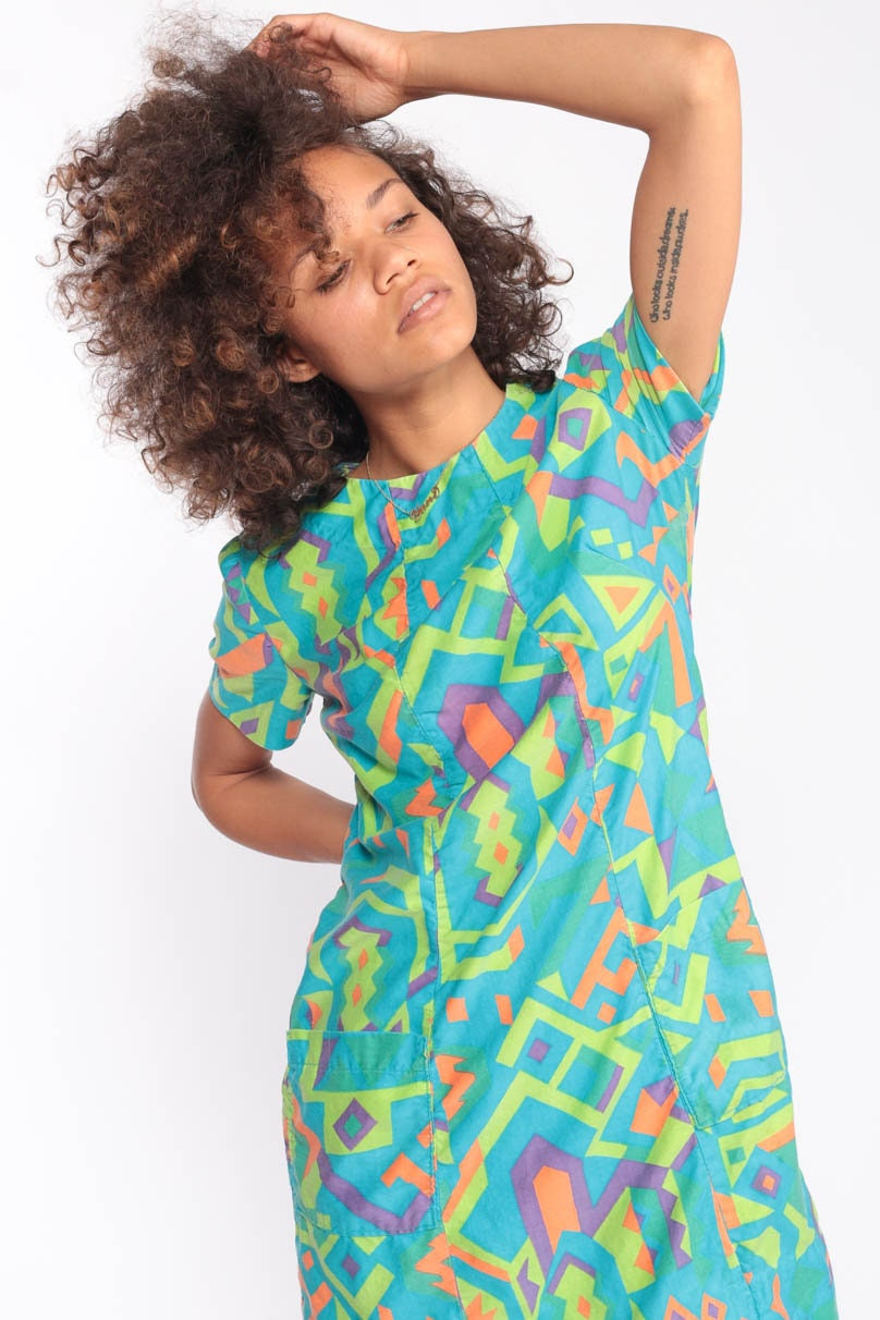 Tribal Mini Dress Mod Shift Neon Psychedelic 60s Print Minidress Green For Sales And Promotions Follow Us Here Instagram Shopexile Facebookcom