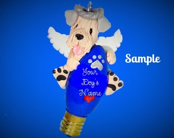 Wheaten Terrier Angel dog Christmas Holidays Light Bulb Ornament by Sally's Bits of Clay Personalized free with dog's name