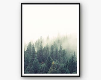 Forest Print, Nature Print, Forest Photography, Nature Photography, Forest Wall Art, Nature Landscape, Mist Forest, Fog Forest, Nature Decor
