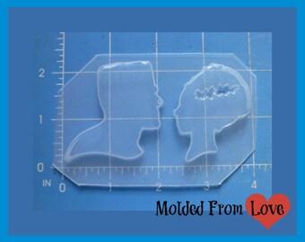 Frankenstein and Bride Silhouettes Handmade Flexible Plastic  Resin Mold