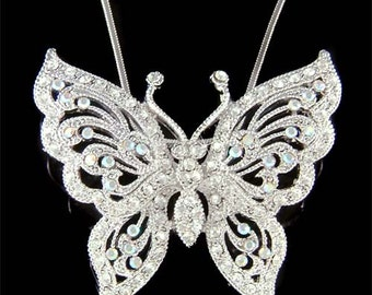 Swarovski Crystal Big Filigree BUTTERFLY Bridal Wedding Charm Pendant Chain Necklace Jewelry Best Friend Mother's Day New Christmas Gift