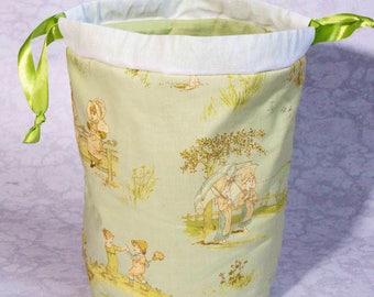 Victorian kids project bag for knitting/ knitting bag / crochet bag / drawstring bag / bag for craft / yarn bag / sock project bag