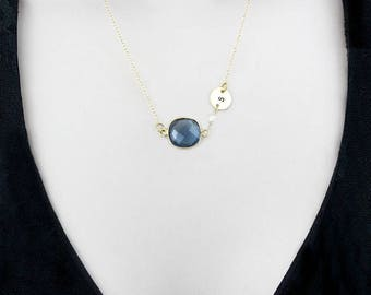Sapphire Necklace, Personalized Necklace, Custom Initial Necklace, Gold Minimalist Necklace, September Birthstone Jewelry, Blue Necklace,