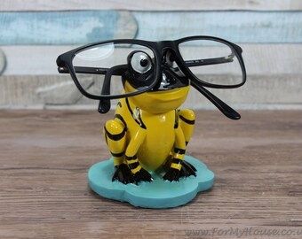 Yellow and black striped Frog glasses holder sunglasses stand