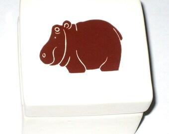 Vintage 70s Nancy Lopez ceramic hippo box made in Japan 1977